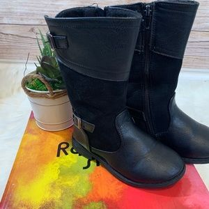 Rachel shoes brand girls toddlers black boots 10M